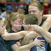 Peru's Arik Robinson receives hugs from familky members as he celebrates his win over Section Five's Colton Dalberth in the 103-lb final at the state wrestling championship in Albany, N.Y., on Saturday evening, Feb. 28, 2009. Robinson won to claim the state title.  From left are sister Samatha, mom Tina and father Chad Robinson. (PR Photo by Mike Okoniewski)