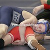 Arik Robinson grapples Section 4's Ryan D'Arcy in this 96-lb bout in the opening round of competition at the state championships on Mar.8, 2008, in Rochester, N.Y.Robinson won 5-2.  (Photos for The PR by Mike Okoniewski)<br><br>(PR-Photo/Michael Okoniewski)