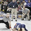 Section 7 coah Hogan coaches his son Patrick in this 119-lb bout in the opening round of competition at the state championships on Mar.8, 2008, in Rochester, N.Y. It's Hogan's first time coaching his son at the states.. (Photos for The PR by Mike Okoniewski)<br><br>(PR-Photo/Michael Okoniewski)