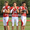 From left, Isaac Garman, Luke Maye and Jacob Nolan will be key components of Saranac's offensive and defensive attacks. The Chiefs will look to defend their Section VII Class C football championship this season.<br /> KAYLA BREEN/STAFF PHOTO