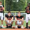 From left, Tyler Phillips, Nate Parmeter, Zack Bieber and Lestyn Willams will help lead the Plattsburgh High football team, which will look to rebound from its 7-6 loss to Peru in the Section VII Class B football championship.<br /> KAYLA BREEN/STAFF PHOTO
