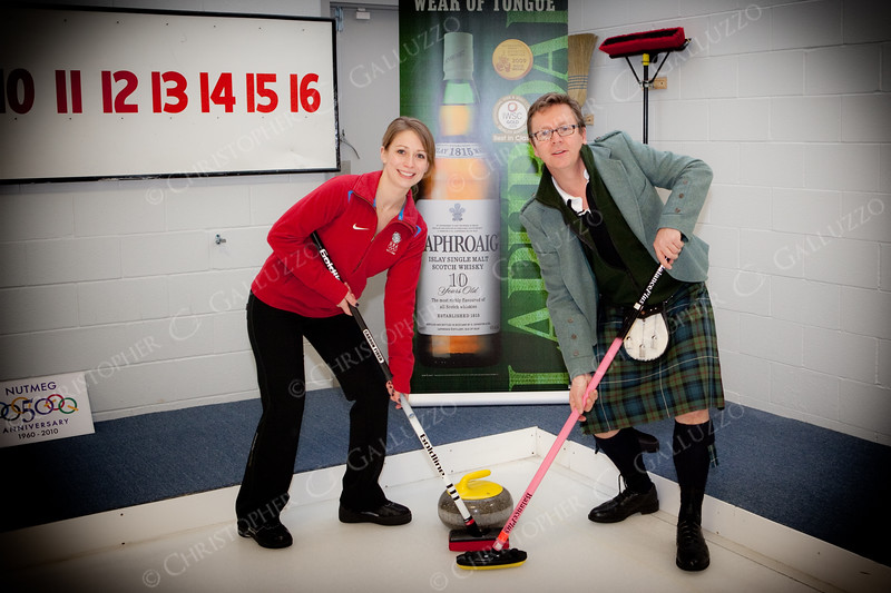 US Olympic Curling team captain teaches the Laphroaig brand ambassador to curl.