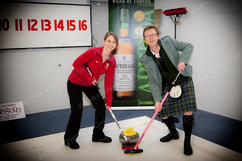 US Olympic Curling team captain teaches the Laphroaig brand ambassador to curl.