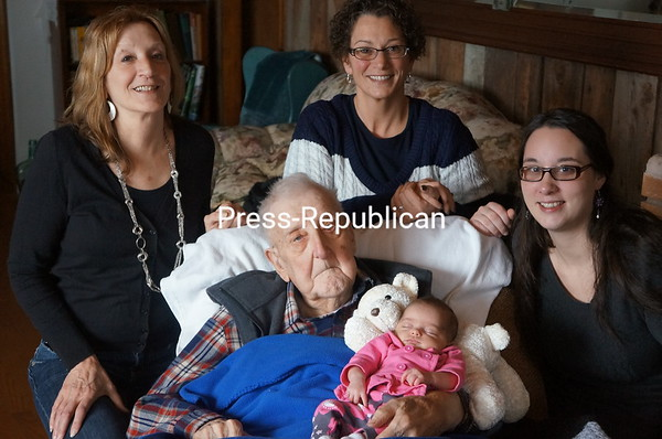 5 generatins (Harold Relation-94 yrs old, Rayah Ann Smoot- 3 wks old, Georgia Branham-65 yrs old, Kim Branham-46 yrs old, Ashley Covey-25 yrs old)<br /> <br /> Photographer's Name: kim branham<br /> Photographer's City and State: plattsburgh, NY