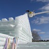 """The 2008 Saranac Lake Winter Carnival ice palace was designed as a """"Hurray for Hollywood,"""" in keeping with the Winter Carnival theme. <br /> The entire ice complex was formed from 2,017 blocks of ice and a pyramid forms a battlement at the entrance to the palace courtyard. A great deal of the labor involved in constructing the ice palace is provided by inmates from nearby Camp Gabriels which is slated for closure by New York State Dept. of Corrections."""