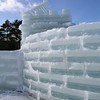 "The 2008 Saranac Lake Winter Carnival ice palace was designed as a ""Hurray for Hollywood,"" in keeping with the Winter Carnival theme. <br /> The entire ice complex was formed from 2,017 blocks of ice and a pyramid forms a battlement at the entrance to the palace courtyard. A great deal of the labor involved in constructing the ice palace is provided by inmates from nearby Camp Gabriels which is slated for closure by New York State Dept. of Corrections."