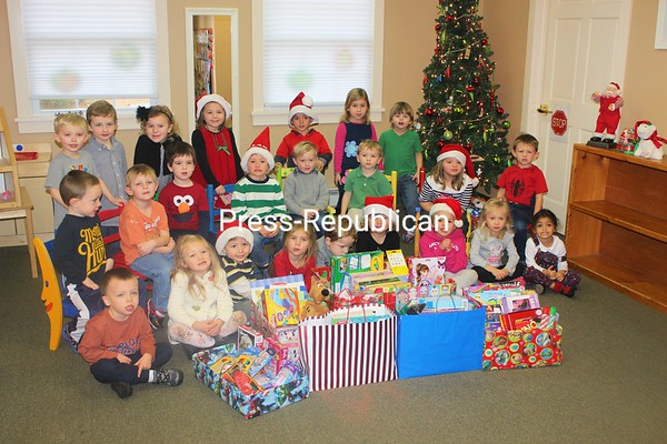 In the spirit of the holiday, North Country Kids Preschoolers in Plattsburgh donated over 100 items to the CVPH-UVMC Pediatric wings to enhance a child's stay. <br /> <br /> Photographer's Name: Nichole Julian<br /> Photographer's City and State: Plattsburgh, NY