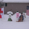 "Our exchange student has been waiting for a big snowstorm and a snowday!! We created a ""German/American"" display of our snowman family."