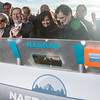 Bob Greifeld,<br /> CEO of Nasdaq OMX signs the podium marking that the Market is officially open