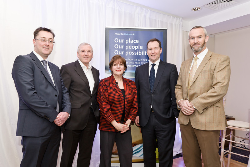 Wednesday 29th January 2014: Pictured here at the Ulster Bank Ahead for Business event, Sheraton Hotel, Athlone, (L-R) John McDermott (Head of Ulster Bank's, Midlands Business Centre), Patrick Kenny (Westward Garages Ulster Bank Customer), Jill Kirby (Ulster Bank), Ken Murnaghan, (Ulster Bank), Neville Furlong (Eyre Kin Ltd Ulster Bank Customer). The Ahead for Business events are taking place in 15 locations nationwide and are open to new and existing Ulster Bank customers. They include information on accessing finance, business planning and cash flow management.