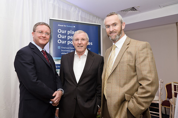 Wednesday 29th January 2014: Pictured here at the Ulster Bank Ahead for Business event, Sheraton Hotel, Athlone, (L-R)Simon Barry (Cheif Economist Ulster Bank), Patrick Kenny (Westward Garages Ulster Bank Customer),  Neville Furlong (Eyre Kin Ltd Ulster Bank Customer). The Ahead for Business events are taking place in 15 locations nationwide and are open to new and existing Ulster Bank customers. They include information on accessing finance, business planning and cash flow management.