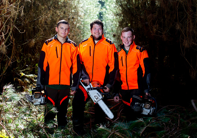 (L-R) Karl Tattler, Sam Willetts and Alex Baines, forestry apprentices who are learning forestry skills using STIHL equipment, at the Learning & Development Forestry Commission in Lady Hill, Birches Valley, Rugeley, October 8 2015
