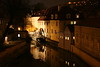 Prague at Night with Water Wheel, Czech Republic