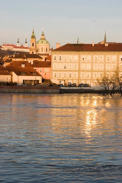 Vlata River at Dawn with Shining Building, Prague