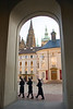 """Three Soldiers Marching Past Arch, Prague Castle,"" color photo"