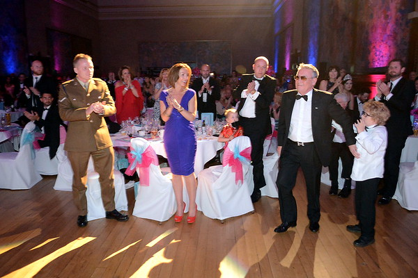The 2015 Swansea Life Awards held at the Brangwyn Hall in Swansea. Businessman, Eddie Whitney goes-up to collect his Lifetime Achievement Award.