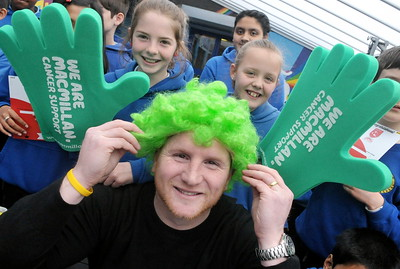 Promotional shot for Macmillan with John Hartson