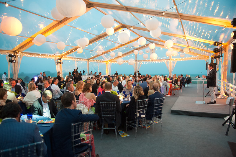 Bob DeLuca addresses supporters at Swing Into Summer Benefit For Group For The East End