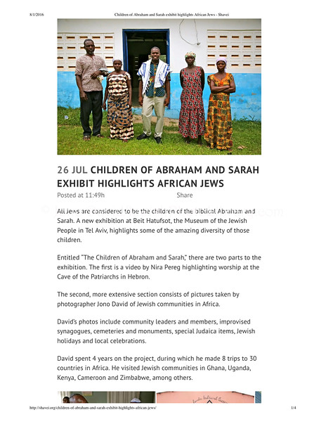 Children of Abraham and Sarah exhibit highlights African Jews - Shavei Israel (dragged)
