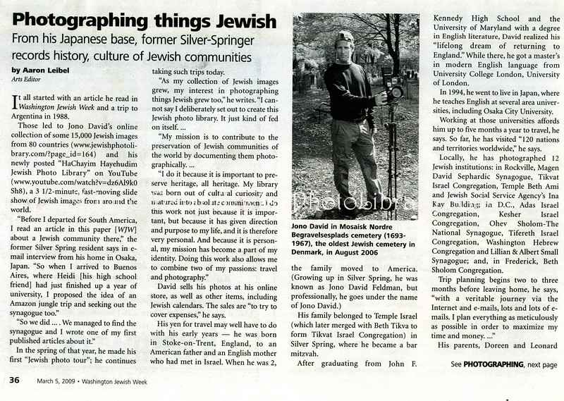 Washington Jewish Week, feature  March 5, 2009  1of2