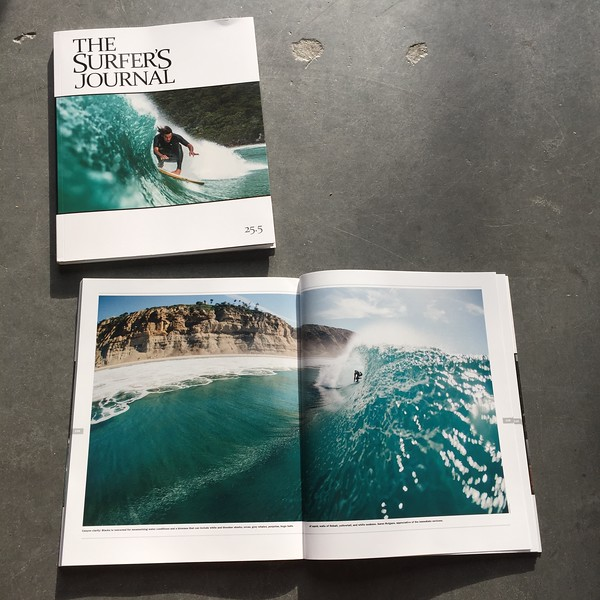 Double page spread of Ian Rotgans, Blacks Beach, California