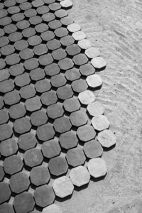 Ceramic tiles laid out to dry in Fez, Morocco.