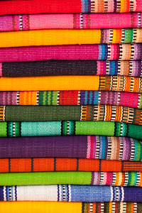 Colorful stack of textiles in San Pedro, Guatemala.