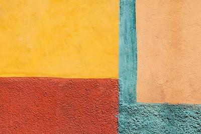 Colorful shapes on stucco walls, San Miguel de Allende.
