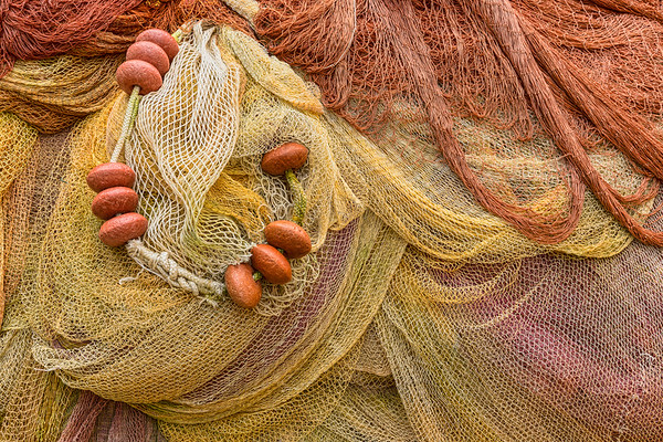 Detail of fishing nets, Cinque Terre, Italy.