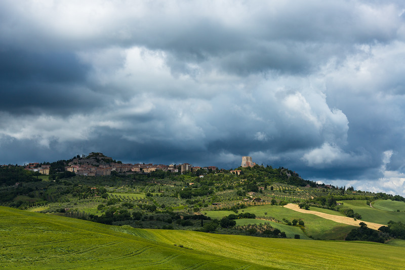 Spring storm over Pienza, Italy.