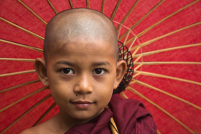 Serene face of a young Burmese monk novitiate.
