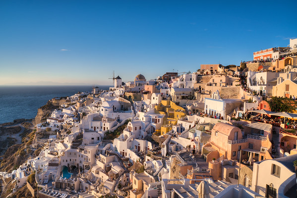 Oia at sunset, Santorini.