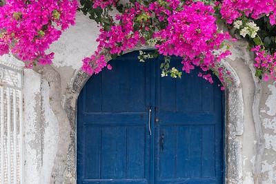 Bougainvillea and Blue Doors, Santorini.