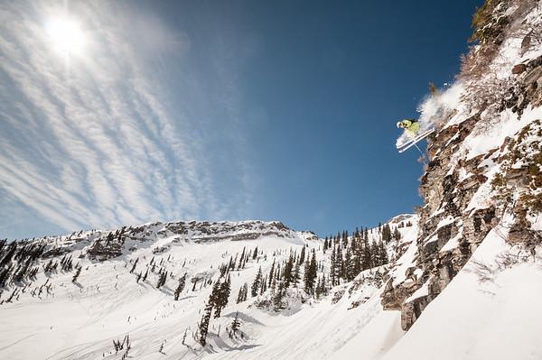 Dropping into Mineral Basin. Snowbird, Utah