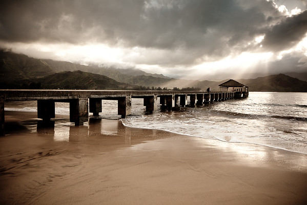 The Heavens Open on Hanalei Pier.  Kauai, HI