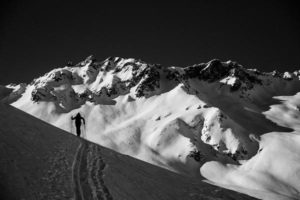 Ski touring at Col des Barmes de l'Ours, Val d'Isere.