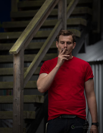 Smoker in Red Tshirt