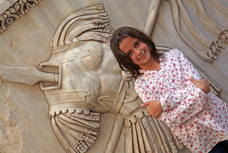 Oct 2011 Rome Lisa next to statute Capitol hill museum