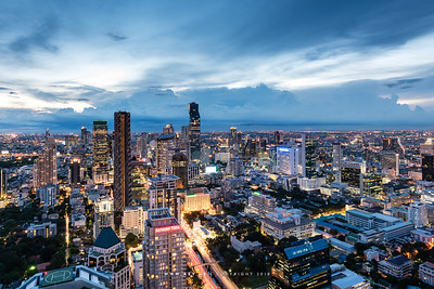 Twilight at Silom & Sathorn, view from Vertigo & Moon Bar, Banyan Tree Bangkok Hotel