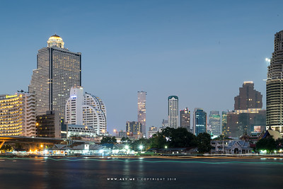Bangkok and the Skyline of Sathorn by Chao Phraya River