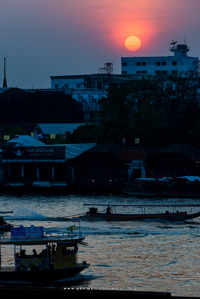 Sunset at Tha Maharaj & Chao Phraya River