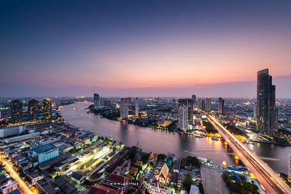 Twilight at Bang Rak and Chao Phraya River