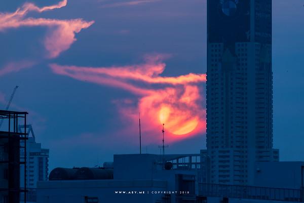 Baiyoke Tower II and the setting sun at Bangkok