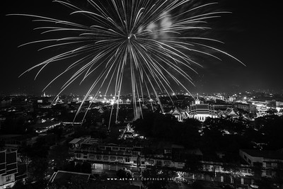 Fireworks on the King Bhumibol Adulyadej's Birthday in 2012