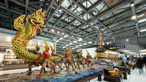 The Churning of the Milk Ocean Statue at Suvarnabhumi International Airport