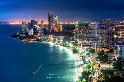 Twilight at Pattaya Beach view from the Hilton Hotel Pattaya, Pattaya, Chonburi