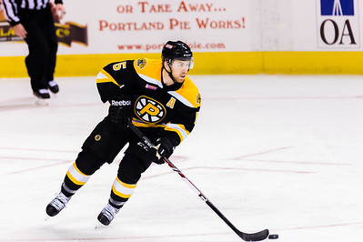 David Warsofsky #5(D) of the Providence Bruins. Portland Pirates 2014-15 season opener vs the Providence Bruins at the Cross Insurance Arena in Portland, Maine on 10/11/2014. (Photo by Michael McSweeney/Portland Pirates)