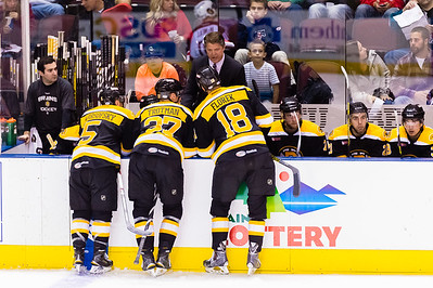 David Warsofsky #5(D), Zach Trotman #37(D) and Justin Florek #18(LW) of the Providence Bruins listen to Bruce Cassidy, Head Coach of the Providence Bruins during a timeout. Portland Pirates 2014-15 season opener vs the Providence Bruins at the Cross Insurance Arena in Portland, Maine on 10/11/2014. (Photo by Michael McSweeney/Portland Pirates)