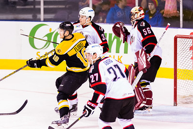 Justin Florek #18(LW) of the Providence Bruins battles for position in front of Mark Louis #33(D) and Mike McKenna #56(G) of the Portland Pirates during the Portland Pirates 2014-15 season opener vs the Providence Bruins at the Cross Insurance Arena in Portland, Maine on 10/11/2014. (Photo by Michael McSweeney/Portland Pirates)