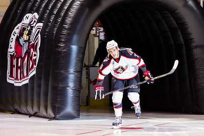 Darian Dziurzynski #26(LW) of the Portland Pirates takes the ice prior to the start of the Portland Pirates 2014-15 season opener vs the Providence Bruins at the Cross Insurance Arena in Portland, Maine on 10/11/2014. (Photo by Michael McSweeney/Portland Pirates)
